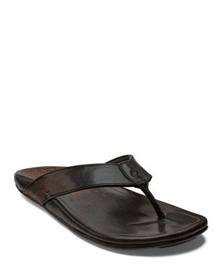 OLUKAI Kulia Leather Thong Sandals in Black/ Black Leather
