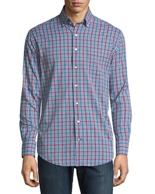 Peter Millar Collier Performance Plaid Long-Sleeve Sport Shirt