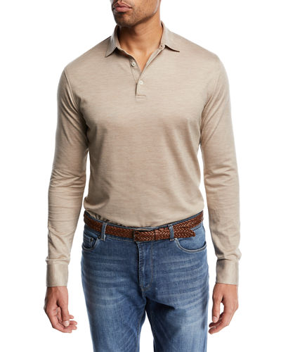 Kilimanjaro Silk-Blend Long-Sleeve Polo Shirt