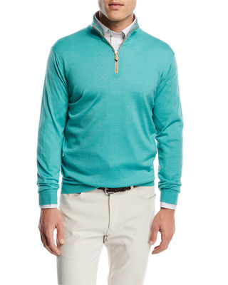 Peter Millar Wool-Silk Half-Zip Sweater