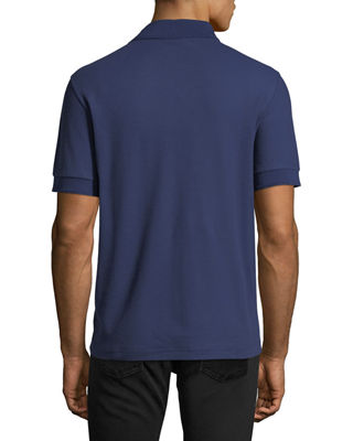Image 2 of 2: Leather-Trim Polo Shirt