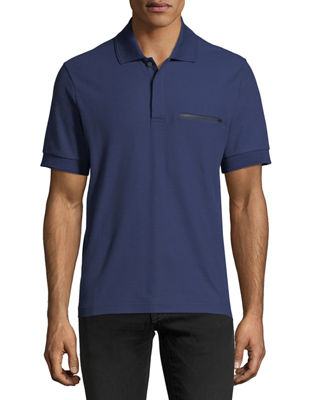 Image 1 of 2: Leather-Trim Polo Shirt