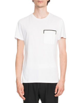 Leather-Trim Jersey T-Shirt
