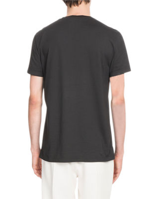 Image 2 of 2: Leather-Trim Jersey T-Shirt