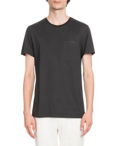 Berluti Leather-Trim Jersey T-Shirt