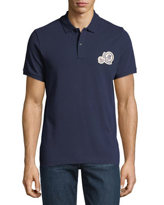 Image 1 of 2: Logo-Patch Piqué-Knit Polo Shirt