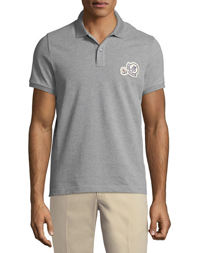 Logo-Patch Piqué-Knit Polo Shirt