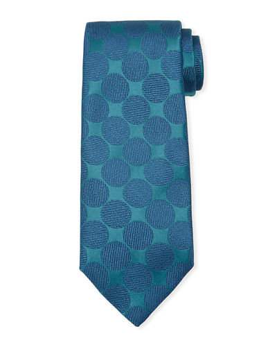 Adjoining Large-Dot Silk Tie