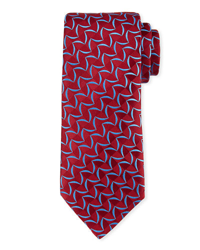 Patterned Tonal-Box Print Silk Tie