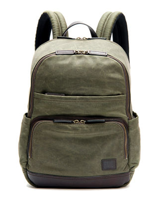 Image 1 of 3: Carter Leather-Trim Canvas Backpack