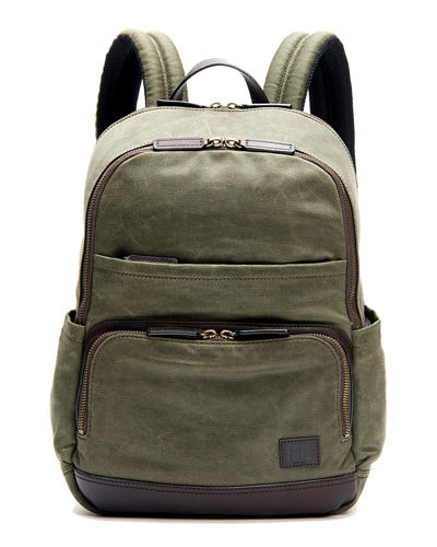 Carter Leather-Trim Canvas Backpack