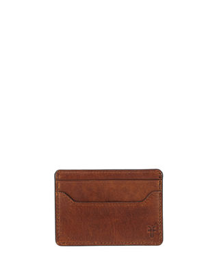 Image 1 of 2: Logan Leather Card Case with Money Clip