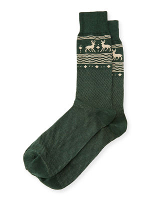 Reindeer-Print Cotton Socks