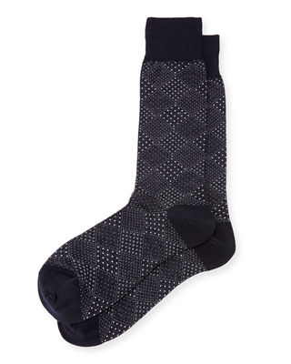 Pin-Dot Diamond Wool Socks