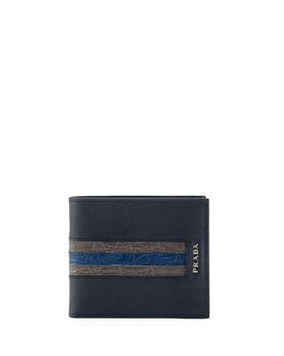 Image 1 of 2: Saffiano Leather Bi-Fold Wallet with Crocodile Stripe