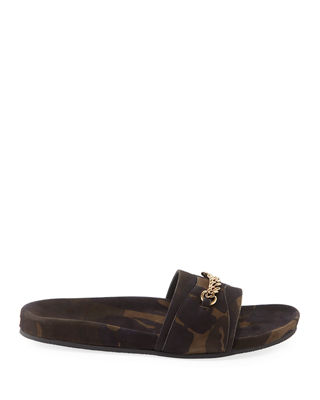 Camouflage Nubuck Leather Slide Sandal
