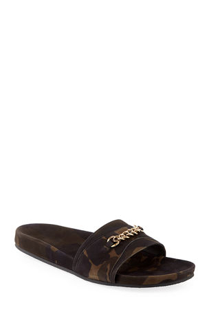 TOM FORD Camouflage Nubuck Leather Slide Sandals
