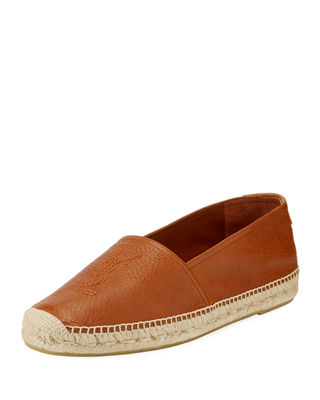 Logo-Stitched Leather Espadrille