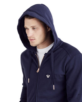 Image 4 of 4: Horseshoe Patch Zip-Front Hoodie