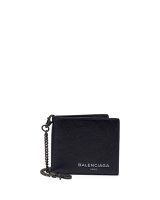 Image 1 of 3: Contrast-Lined Leather Chain Wallet