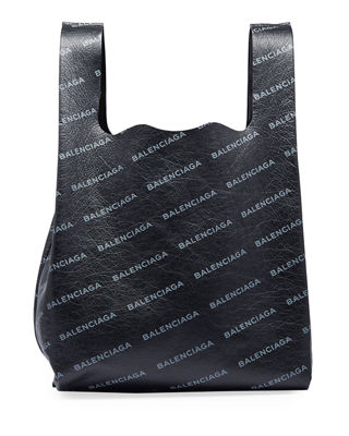 Men'S Allover Logo-Print Leather Grocery Tote Bag, Gray