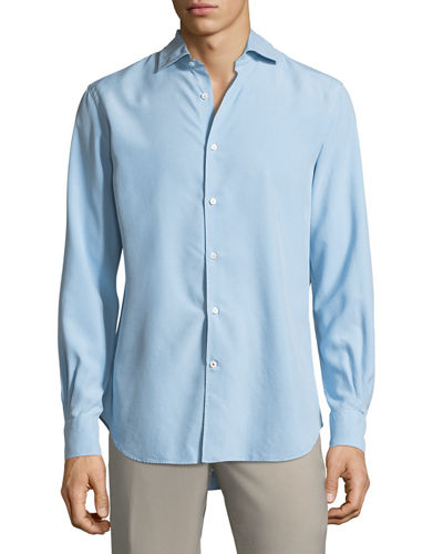 Alain Silk-Dyed Button-Front Shirt