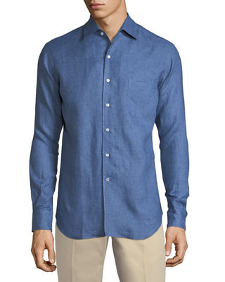 Image 1 of 2: Andrew Long-Sleeve Linen Shirt