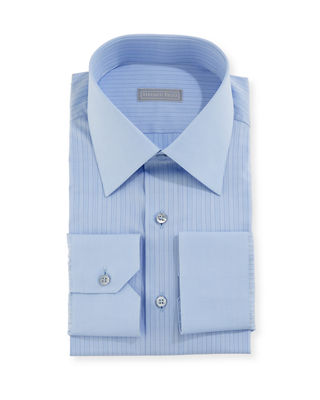 Contrast-Striped Dress Shirt