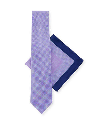 Large-Check Tie & Pocket Square Set