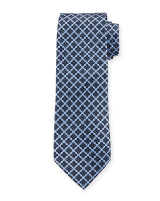 Floral Medallion Pattern Silk Tie