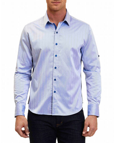 Canton Striped Tab-Sleeve Sport Shirt