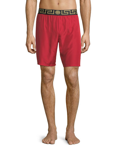 Long Swim Trunks w/ Greek Key Waistband