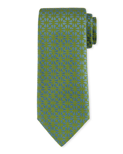 Fire-Flower Print Silk Tie