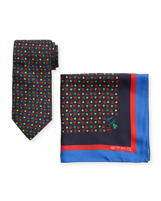 Etro Ladybugs Boxed Tie & Pocket Square Set