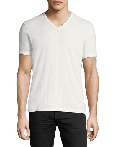 V-Neck Raw-Edge Slub T-Shirt