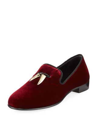 Men's Veronica Velvet Loafer w/ Horn Tassels