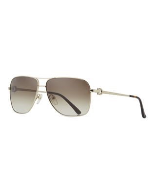Salvatore Ferragamo Men's Signature Metal Navigator Sunglasses