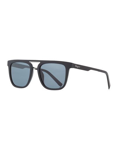 Men's Square Double-Bridge Sunglasses