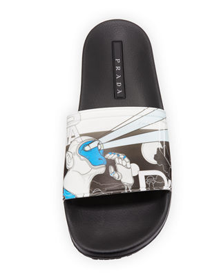Image 2 of 3: Men's Graphic Rubber Slide Sandal