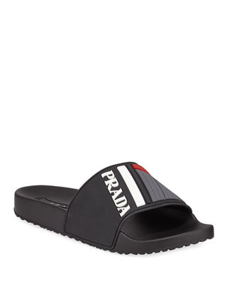 Men'S Logo Rubber Slide Sandals, Black