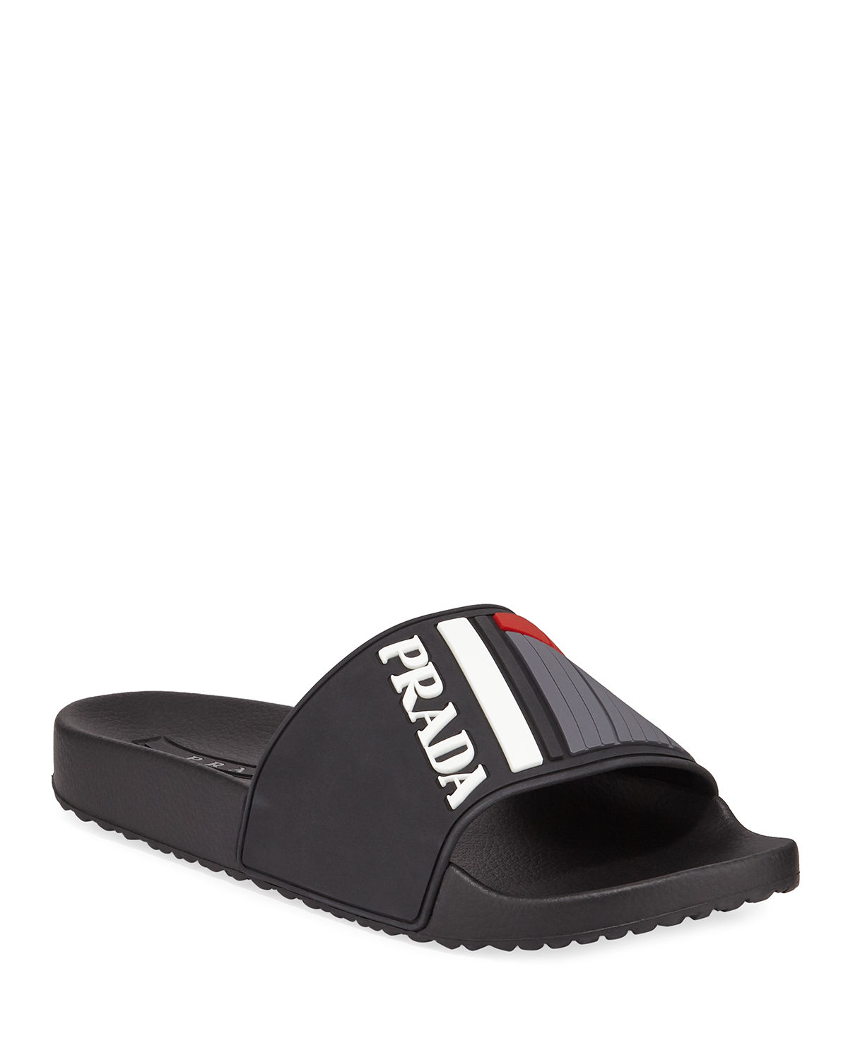 adf90e5a1ca0 Prada Men s Logo Rubber Slide Sandals