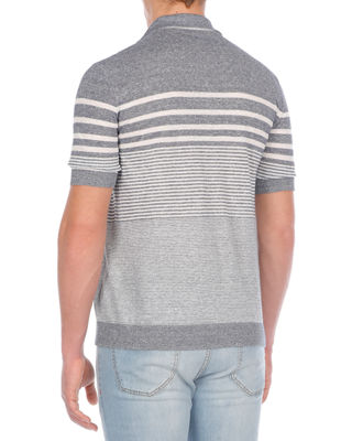 Image 2 of 2: Multi-Striped Linen-Blend Polo Shirt