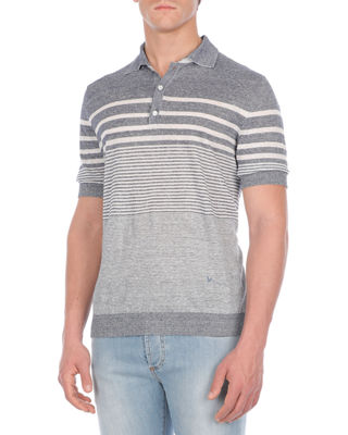 Image 1 of 2: Multi-Striped Linen-Blend Polo Shirt