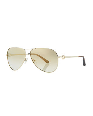 Salvatore Ferragamo Men's Signature Metal Aviator Sunglasses