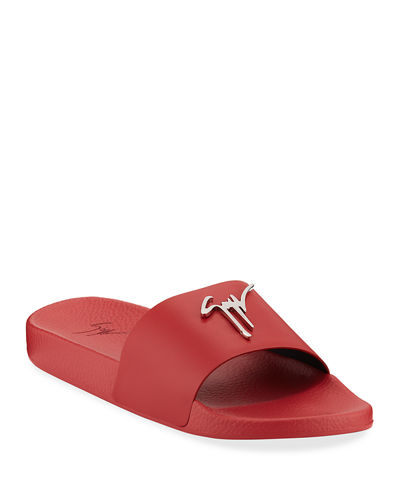 Logo Leather Slide Sandals