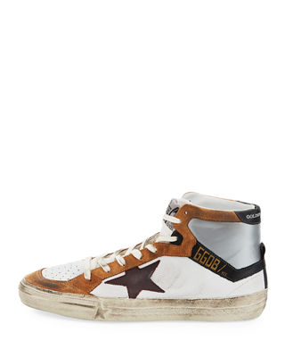 Image 3 of 3: Men's Multicolor High-Top Leather Sneaker