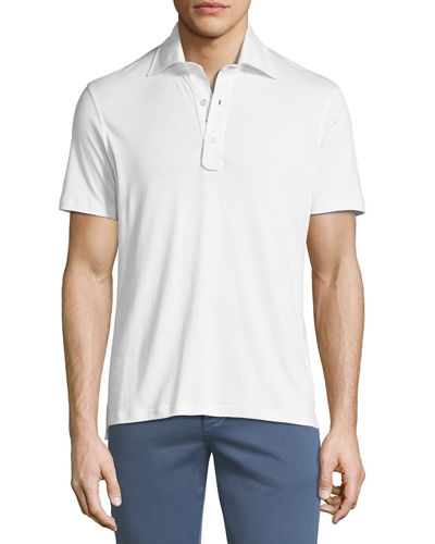 Heathered Cotton 3-Button Polo Shirt