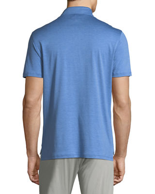 Image 2 of 2: Heathered Cotton 3-Button Polo Shirt