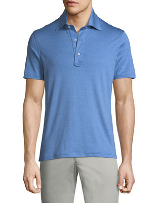 Image 1 of 2: Heathered Cotton 3-Button Polo Shirt