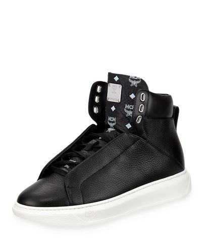 Visetos-Trim Leather High-Top Sneaker